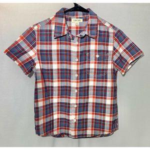 Cherokee Boys Button Down Plaid Shirt, Medium